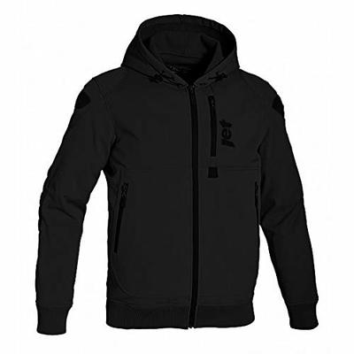 JET Motorcycle Motorbike Protective Jacket Black and Grey Hoody Armoured Soft Shell (2XL (44″ – 46″), Black)