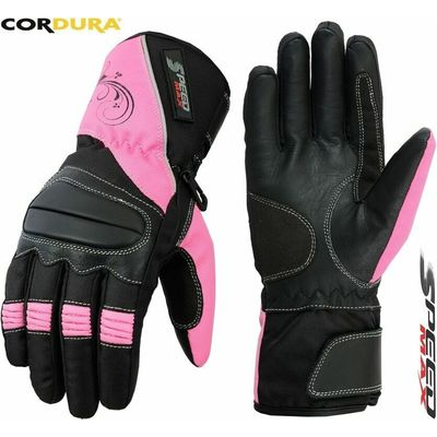 LADIES PINK & BLACK WOMENS MOTORBIKE MOTORCYCLE MOTOCROSS TEXTILE LEATHER GLOVES