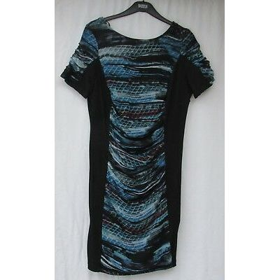 LADIES MARKS AND SPENCER PER UNA BLACK AND MULTI COLOURED DRESS SIZE 16