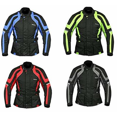 RKsports Commander Waterproof Motorcycle Motorbike Jacket Black CE Armors (6X-Large 52″/54″, High Visibility)