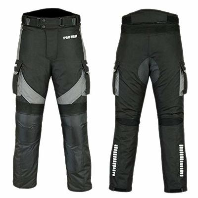 PROFIRST Mr.Pro CE Approved All Weather Waterproof Armoured Motorbike Motorcycle Trouser Pant with Removable Lining (36″ Waist (32″ Inside Leg), Grey)