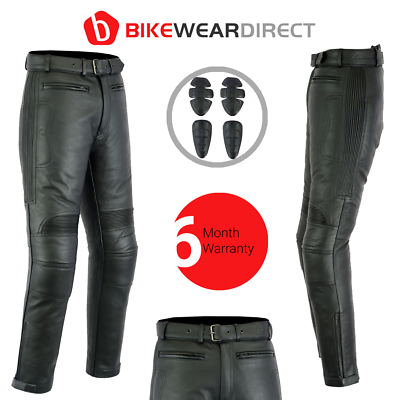 Leather Motorbike Motorcycle Trousers Biker Touring With CE Armour Protection