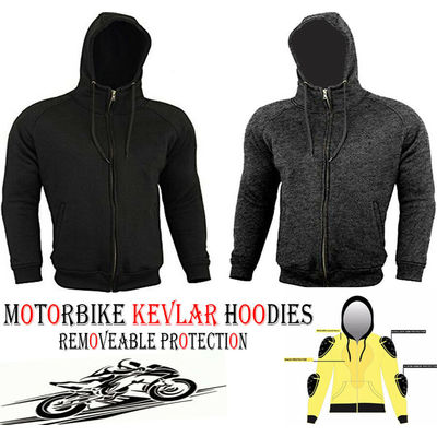 GREY / BLACK FLEECE HOODIE WITH KEVLAR & CE ARMOUR MOTORBIKE / MOTORCYCLE JACKET