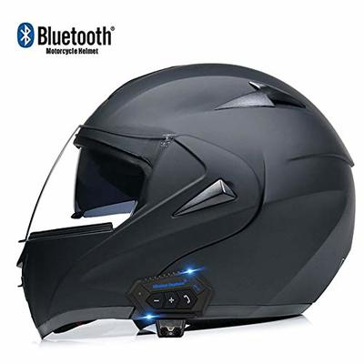 ZhangHai Bluetooth Integrated Motorcycle Helmets Full Face Flip Up Modular With Dual Visors Motorcross Helmets Built-in Speaker Headset Microphone For Unisex DOT/ECE Certification