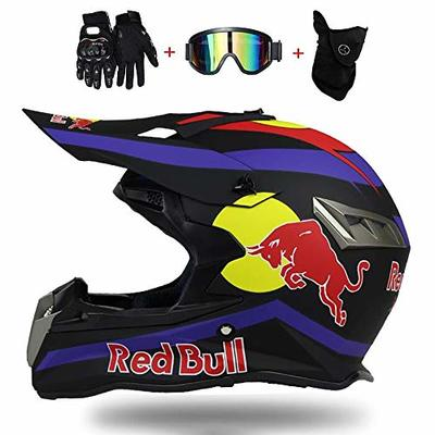 Full Face Helmet,Motorcycle/Motorbike Helmet ABS Housing DOT Certification Multiple Venting Holes Cool Shape Quick Lock Removable Lining Send goggles Gloves Mask Red Bull