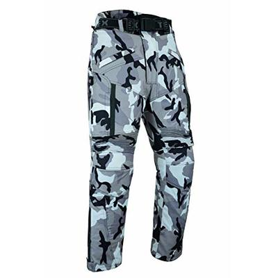 Mens Texpeed Grey Camouflage Waterproof Armoured Motorcycle Trousers – (44W / 32L)