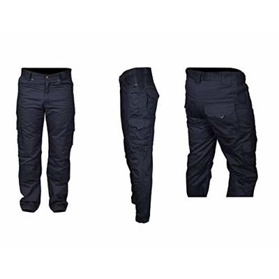 Men's Motorbike Protective Lining Biker 6 Pocket All Black Cargo Reinforced Padded Armour Jean Trouser Pant With Free Padding 30 to 50 Waist