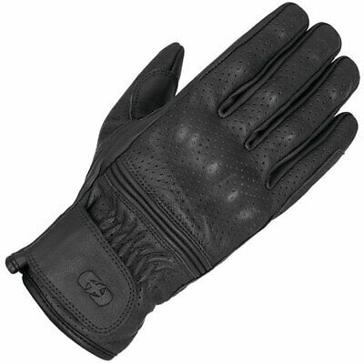 Oxford Holbeach Perforated Motorcycle Motorbike Vintage Leather Gloves – Black