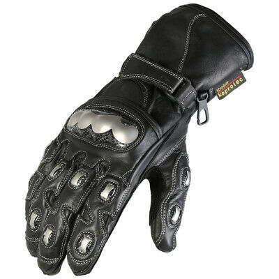 Motorcycle Gloves Motorbike Protective Black & Chrome Leather Summer – Small