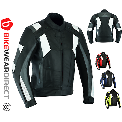 Leather Motorbike Motorcycle Jacket CE Armoured Biker Sports Racing Thermal