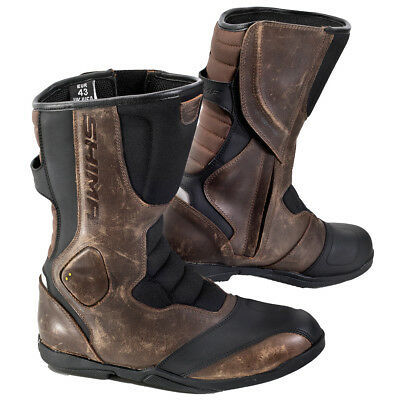 SHIMA STRADA VINTAGE, Classic Retro Sport Leather Motorcycle Boots, Brown