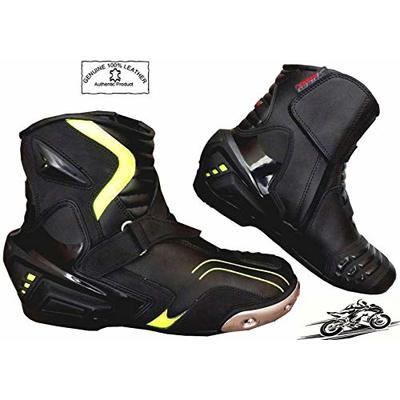 Speed MaxX Real Leather HiViz Black Mens Motorbike Motorcycle Racing Short Sports Shoes Boots (10 UK)