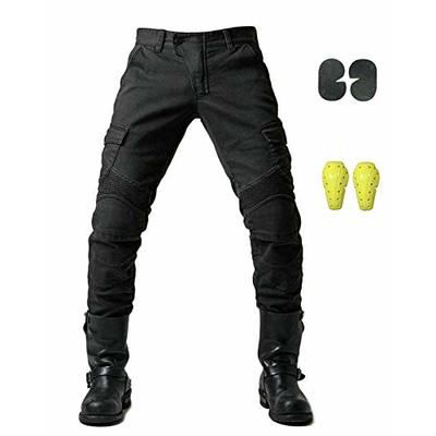Mens Motorcycle Jean Pants Protection Lining Motorbike Trousers with 2 Pair Protect Pads Jeans ?Black,2XL