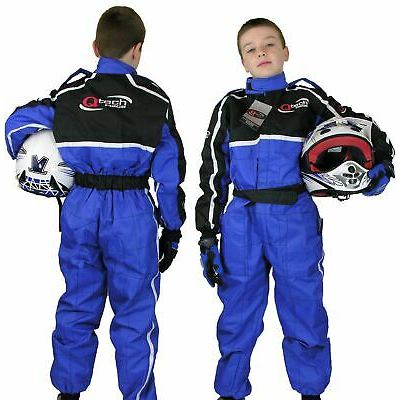 GO – Kart One Piece RACE SUIT Overalls Karting Quilted Polycotton – BLUE