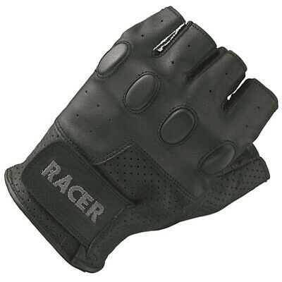 Racer Bubble Fingerless Motorcycle Motorbike Leather Gloves – Black