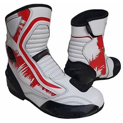 Speed MaxX Real Leather White & RED Mens Motorbike/Motorcycle Short Racing Sports Shoes/Boots (9 UK)