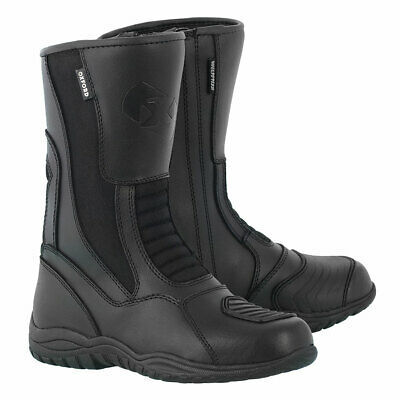 Oxford Tracker Motorcycle Motorbike Leather Boots Black
