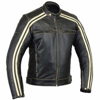 Bikers Gear Australia Classic Retro Style 'The Bonnie' Cowhide Leather Motorcycle Jacket with CE1621-1 Removable Armour – Ivory stripe Size Small