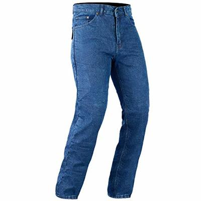 Bikers Gear Australia Classic Cut Kevlar Lined Protective Motorcycle Trouser Kevlar Jeans with Removable CE1621-1 Armour, Blue, Size 42L