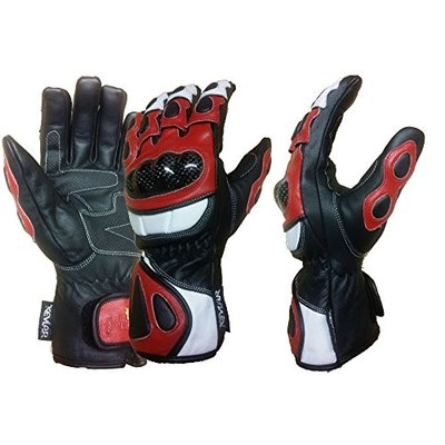 GLOBAL WARMING COBRA LEATHER MOTORCYCLE LONG GLOVES RED S