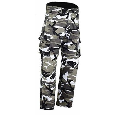 Bikers Gear Australia Kevlar Lined Protective Motorcycle Cargo Trouser Kevlar Jeans with Removable CE1621-1 Armour, Grey Camo, Size 34S