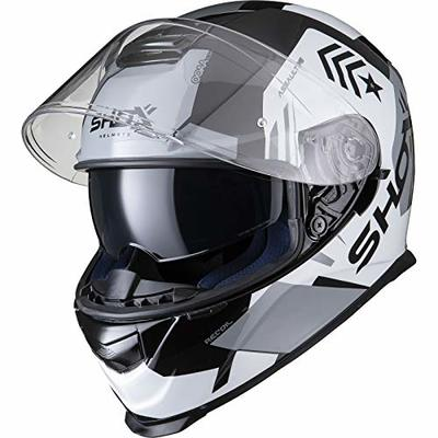 Shox Assault Evo Recoil Motorcycle Helmet S Black White