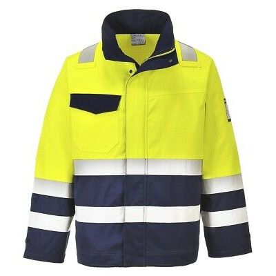 Portwest yellow/navy hi-vis MODAFLAME flame resistant jacket #MV25