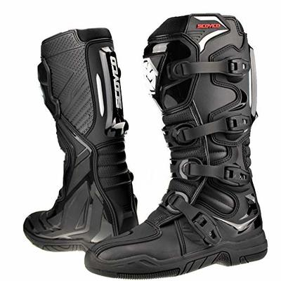 Scoyco Motorcycle Shoes Black CE Certified Motocross Off Road Enduro ATV MX Quad Trail Kart Protective Glued Cemented Sole Boots (Black,42)