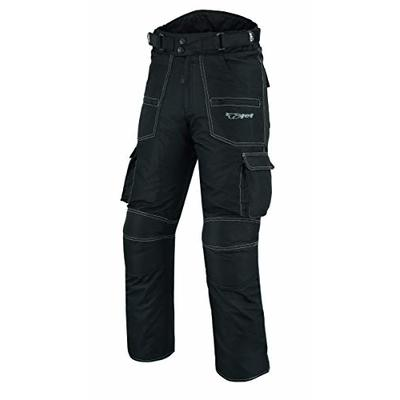 JET Mens Motorcycle Motorbike Trousers Pants Textile CE Armoured Cargo Waterproof Protective NIGHT VISION (W32 L34, Black)