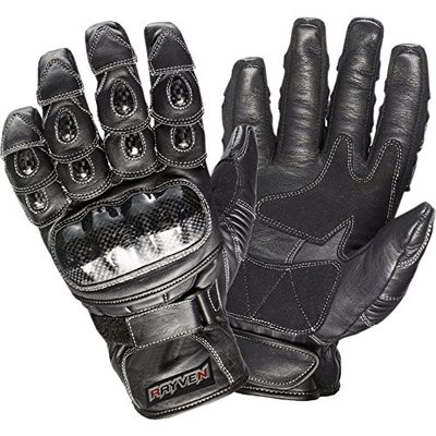 Rayven TAL004 Talon Leather Motorcycle Gloves XL Black