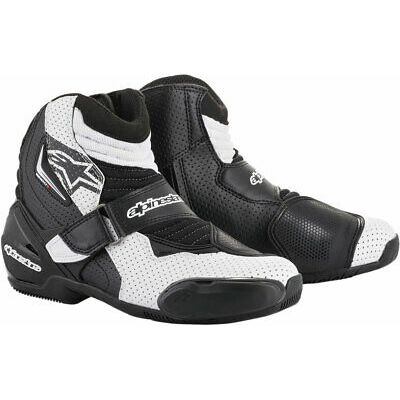 Alpinestars SMX-1 R Vented Low-Cut Street Riding Boots (Black/White) Choose Size