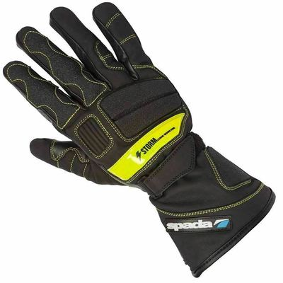 Spada Storm Leather Motorcycle Gloves Black Touring Armoured Thermal Hi-Vis XL