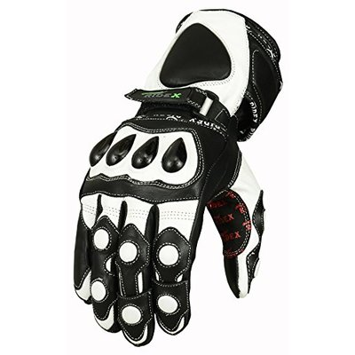 RIDEX G7W Knuckle Protection Waterproof Motorcycle Leather Gloves White & Black (Large)
