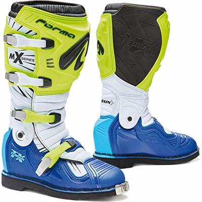FORMA – Terrain TX – CE Approved Motorcycle Boots in Neon Yellow/White/Blue.