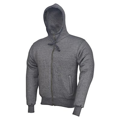 Grey Charcoal Motorcycle Motorbike Hoodie Hoody Jacket Zip Up Removable CE Armoured (2XL)