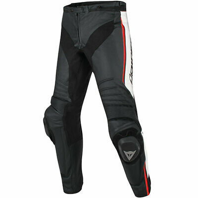 Dainese Misano Leather Motorcycle Motorbike Jeans – Black / White / Fluo Red